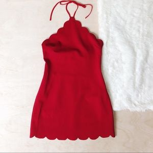 NWOT Kimchi Blue Red Scalloped Halter Mini Dress